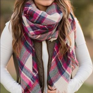 Oversized Tartan Plaid Blanket Scarf